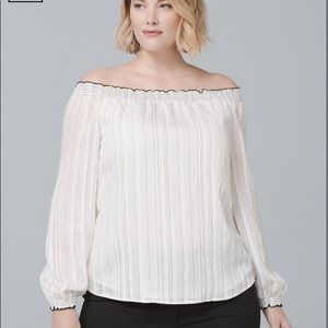 WHBM White And Black Striped Off Shoulder Blouse